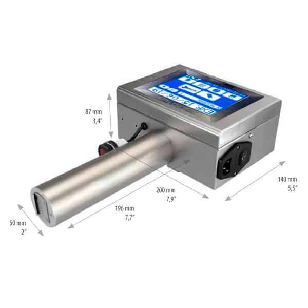 Z101-Lite Abmessungen 2 Großschriftdrucker 7-Düsen Front | MSM Markiersysteme